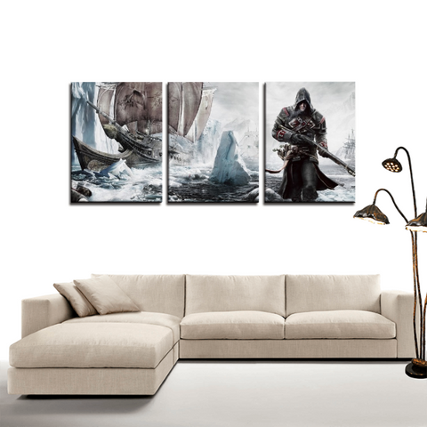 Assassin's Creed Rogue Game Design 3pc Canvas Wall Art Decor - Game Geek Shop