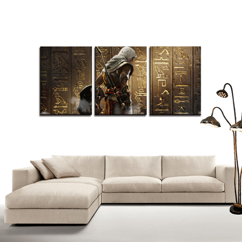 Assassin's Creed Origins Bajek Egypt 3pc Canvas Wall Art Decor - Game Geek Shop
