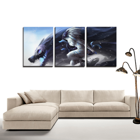 League of Legends LOL Kindred Champion 3pc Canvas Wall Art Decor - Game Geek Shop