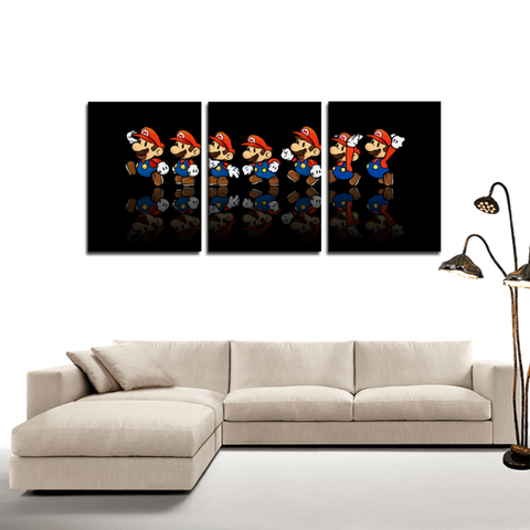 Super Mario Gaming Theme 3pc Canvas Wall Art Decor - Game Geek Shop
