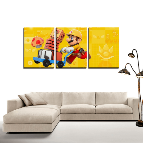Super Mario Builder Vibrant 3pc Canvas Wall Art Decor - Game Geek Shop