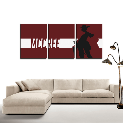 Overwatch McCree Cowboy Game 3pc Canvas Wall Art Decor - Game Geek Shop