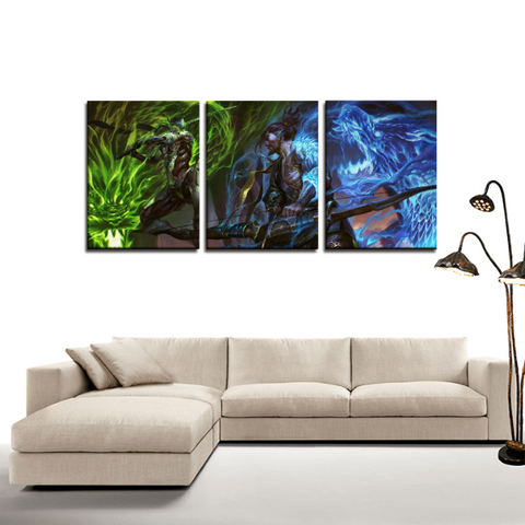 Overwatch Genji Fight Hanzo 3pc Canvas Wall Art Decor - Game Geek Shop