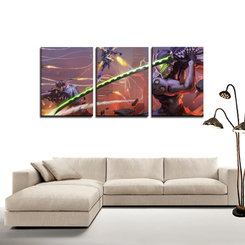 Overwatch Genji Ninja Cool 3pc Canvas Wall Art Decor - Game Geek Shop