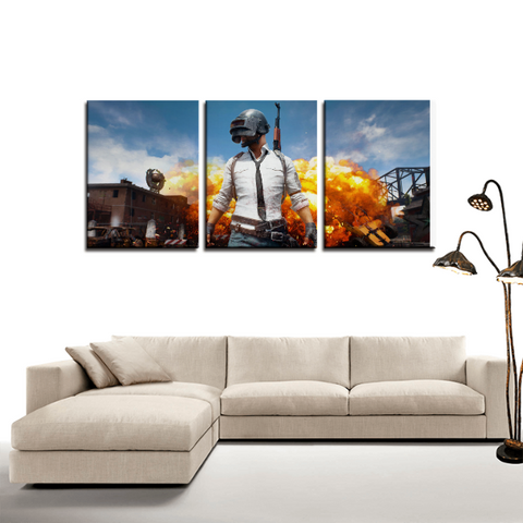 Battle Ground PUBG Main Theme 3pc Canvas Wall Art Decor - Game Geek Shop