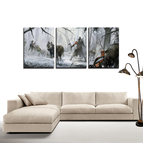 Assassin's Creed Wolves Pack Connor  3pc Canvas Wall Art Decor - Game Geek Shop