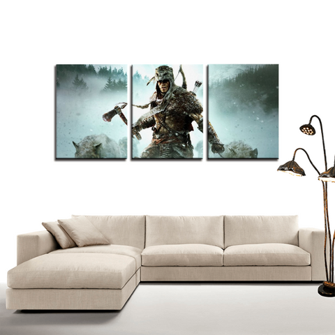 Assassin's Creed Wolf Costume Connor 3pc Canvas Wall Art Decor - Game Geek Shop