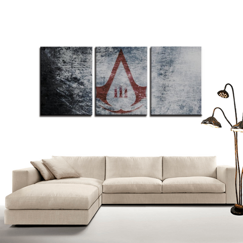 Assassin's Creed 3 Symbol Design 3pc Canvas Wall Art Decor - Game Geek Shop