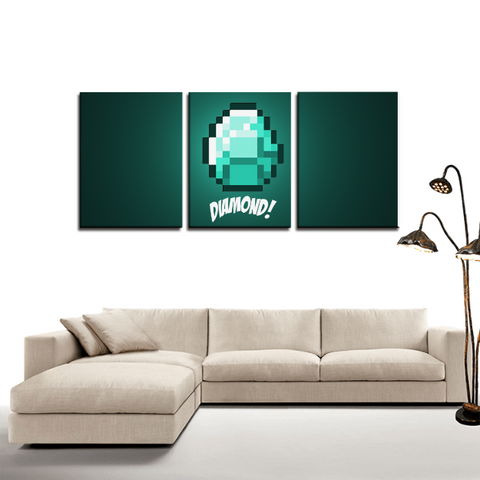 Minecraft Diamond Ore Game 3pc Canvas Wall Art Decor - Game Geek Shop