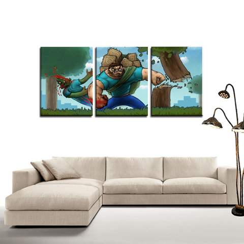 Minecraft Steve Meme Artwork 3pc Canvas Wall Art Decor - Game Geek Shop