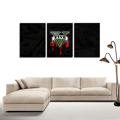 GTA V Logo Super Cool 3pc Canvas Wall Art Decor - Game Geek Shop
