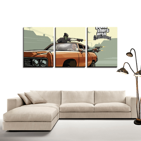 GTA San Andreas Street Gang Retro 3pc Canvas Wall Art Decor - Game Geek Shop