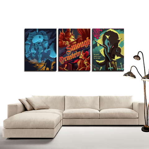 Dark Souls Gaming Retro Art Poster 3pc Canvas Wall Art Decor - Game Geek Shop