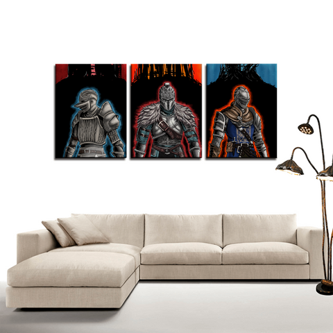 Dark Souls Knights Dope Game 3pc Canvas Wall Art Decor - Game Geek Shop