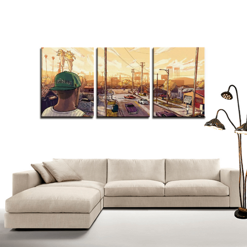 GTA San Andreas CJ Art Gaming 3pc Canvas Wall Art Decor - Game Geek Shop