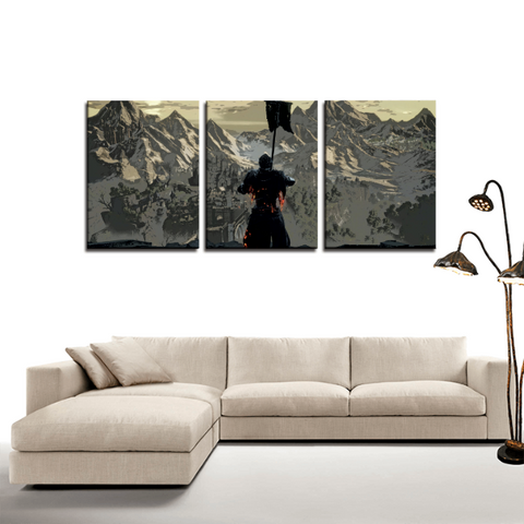 Dark Souls Retro Art Design 3pc Canvas Wall Art Decor - Game Geek Shop