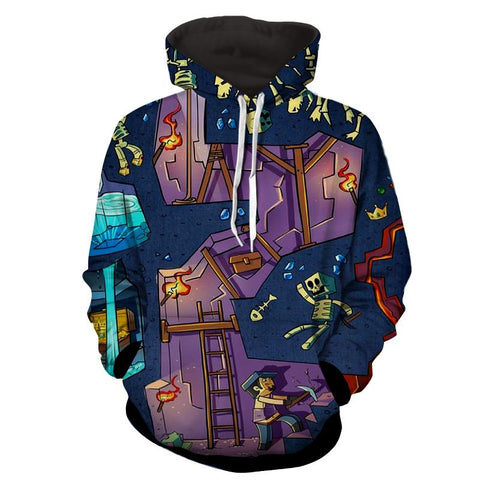 Minecraft Artwork Gaming Design Full Print Cool Hoodie - Game Geek Shop