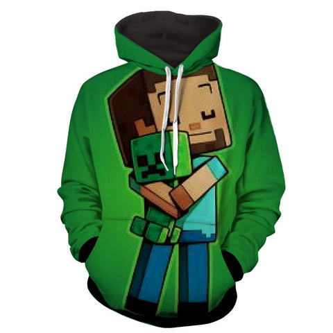 Minecraft Creeper Teddy Bear Cute Design Gaming Hoodie - Game Geek Shop