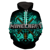 Minecraft 8Bit Game Logo Diamond Tools Cool Hoodie - Game Geek Shop