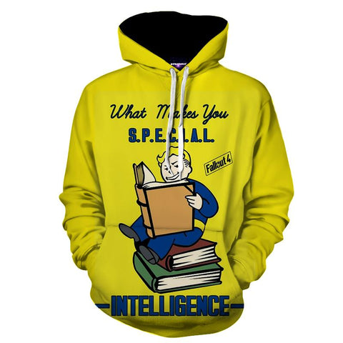Fallout  S.P.E.C.I.A.L Intelligence Perk Game Design Hoodie - Game Geek Shop