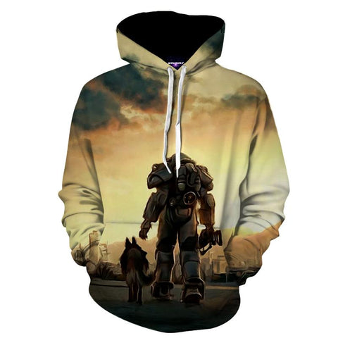 Fallout 4 Power Armor Dogmeat Fan Art Gaming Hoodie - Game Geek Shop