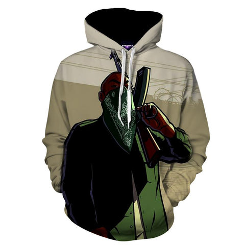 GTA San Andres Grove Street Families Gang Game Hoodie - Game Geek Shop