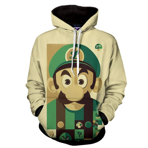 Super Mario Bros Luigi Retro Portrait Full Print Game Art Hoodie - Game Geek Shop