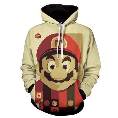 Super Mario Retro Portrait Full Print Game Art Dope Hoodie - Game Geek Shop