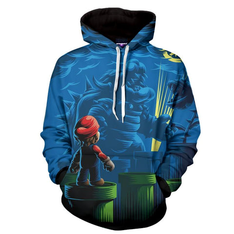 Super Mario Bowser Batman Parody Funny Game Hoodie - Game Geek Shop