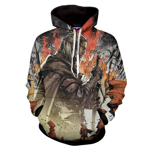 The Witcher 3 Geralt Demon Hunter Fan Art Game Hoodie - Game Geek Shop