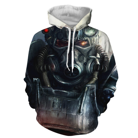 Fallout Power Armor Fan Art Gaming Theme Hoodie - Game Geek Shop