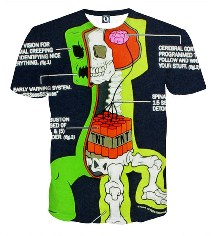 Minecraft Creeper Anatomy Creative Design Gaming T Shirt Game Geek