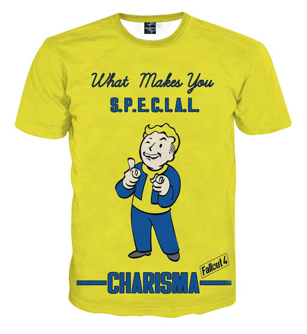 Fallout  S.P.E.C.I.A.L Charisma Perk Game Design T-Shirt - Game Geek Shop