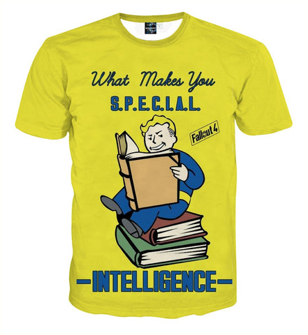 Fallout  S.P.E.C.I.A.L Intelligence Perk Game Design T-Shirt - Game Geek Shop