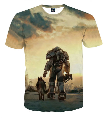 Fallout 4 Power Armor Dogmeat Fan Art Gaming T-Shirt - Game Geek Shop