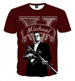 GTA 5 Michael Main Character Portrait Gaming Art T-Shirt - Game Geek Shop