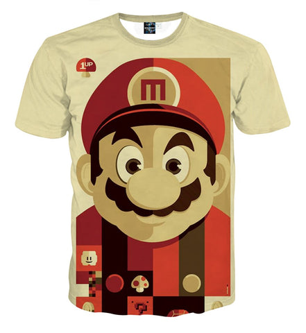 Super Mario Retro Portrait Full Print Game Art Dope T-shirt - Game Geek Shop