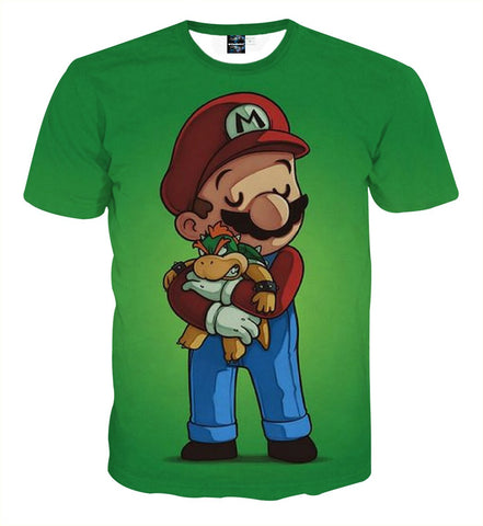 Super Mario Bowser Teddy Fan Art Theme Game T-Shirt - Game Geek Shop