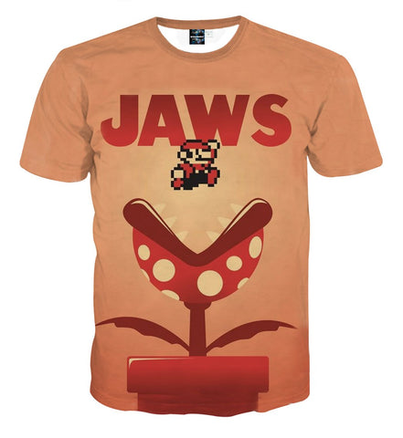 Super Mario Jaws Parody Poster Funny Streetwear T-Shirt - Game Geek Shop