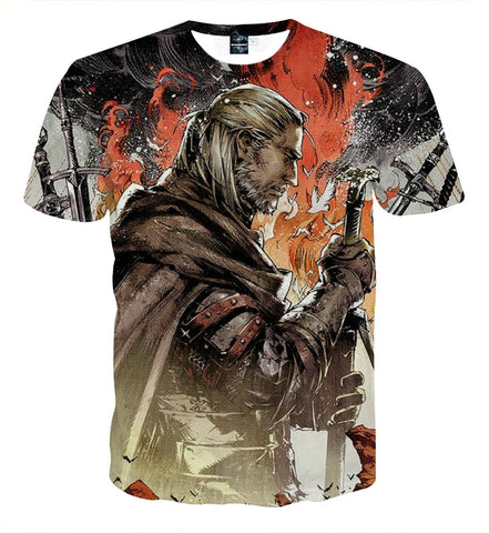 The Witcher 3 Geralt Demon Hunter Fan Art Game T-Shirt - Game Geek Shop