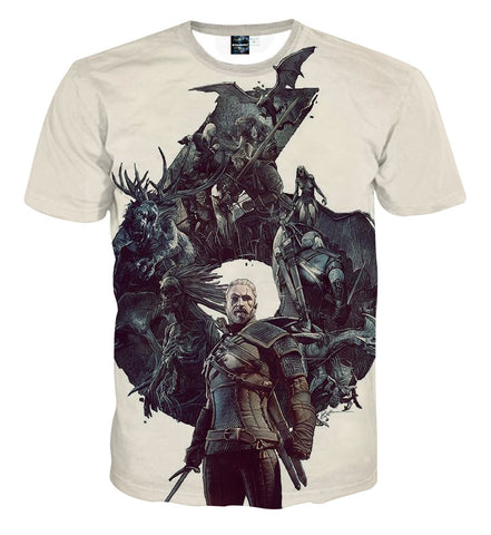 The Witcher 3 Geralt Monster Slayer Gaming Theme T-Shirt - Game Geek Shop