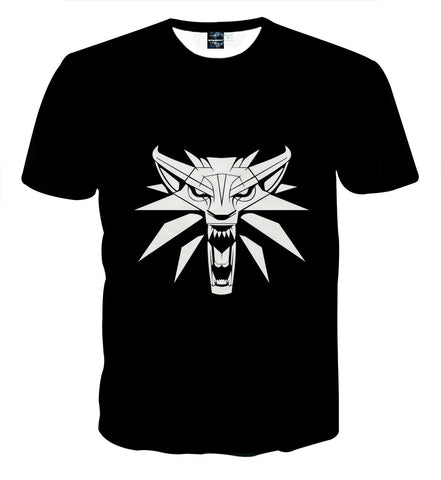 The Witcher Wolf Head Symbol Basic Gaming Design T-Shirt - Game Geek Shop