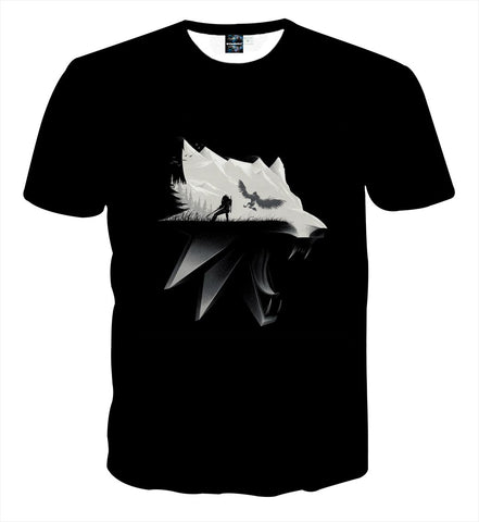 The Witcher Symbol Geralt Fight Griffin Game Theme T-Shirt - Game Geek Shop