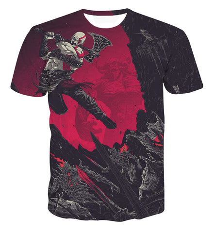God of War Kratos Epic Battle Artwork T-shirt - Game Geek Shop