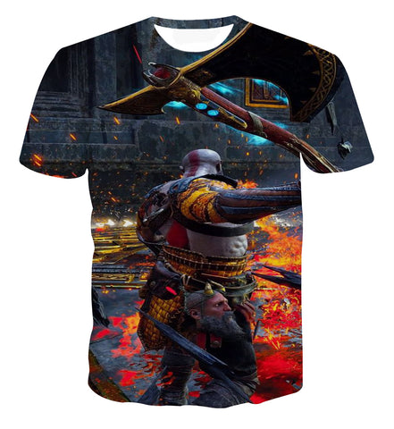 God of War Kratos Gaming Vibrant Scene T-shirt - Game Geek Shop