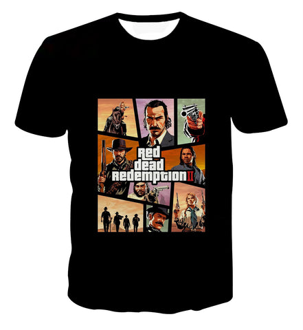 Red Dead Redemption 2 Poster GTA Style T-shirt - Game Geek Shop