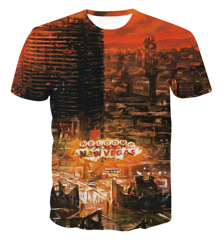 Fallout New Vegas City Scene T-shirt - Game Geek Shop