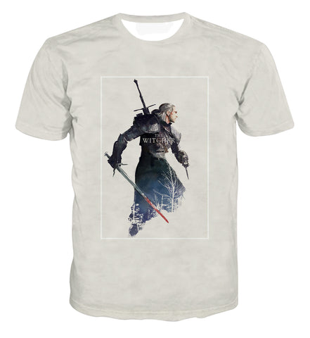 The Witcher Geralt Portrait Design T-shirt - Game Geek Shop