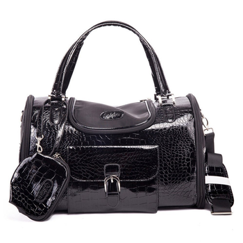 Parisian Pet Luxury Croc Dog Carrier - Black - Treat Your Dog Good