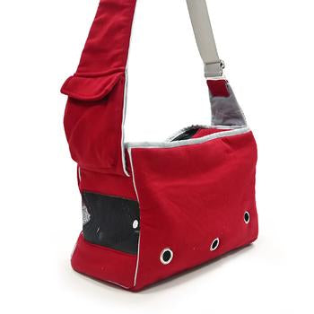 Boxy Messenger Bag Dog Carrier by Dogo - Red - Treat Your Dog Good